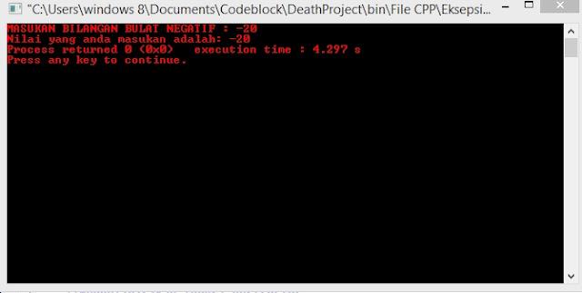 Gambar Output Program Class Eksepsi