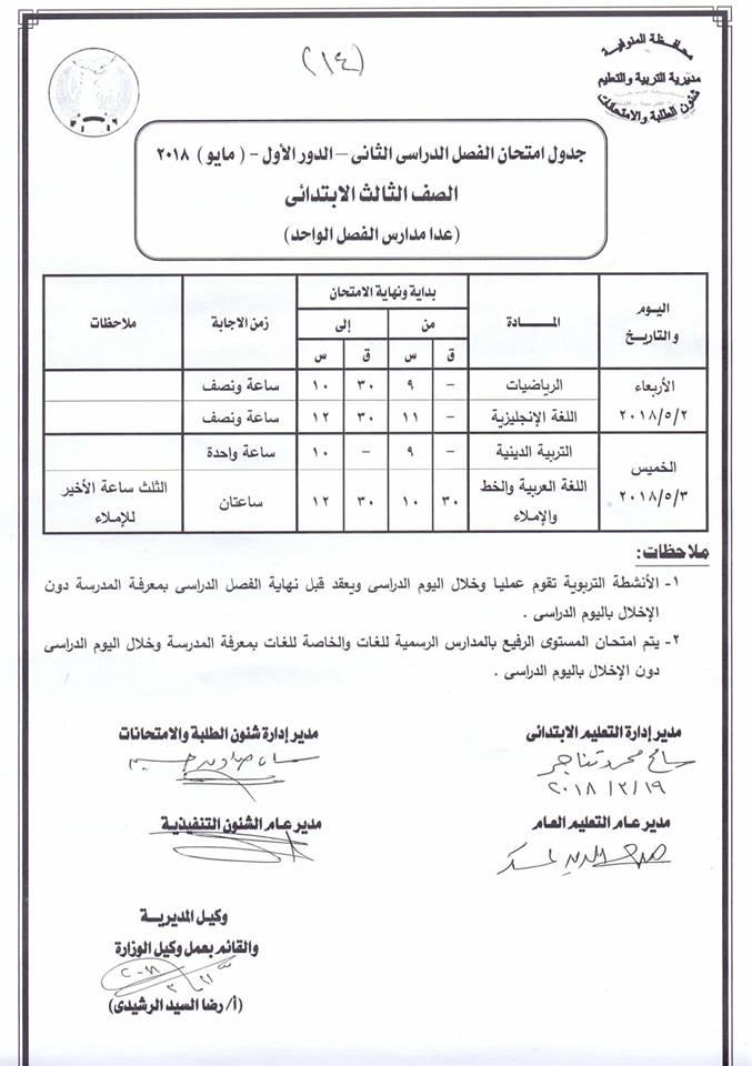 حمل جدول امتحانات محافظة المنوفية 2018
