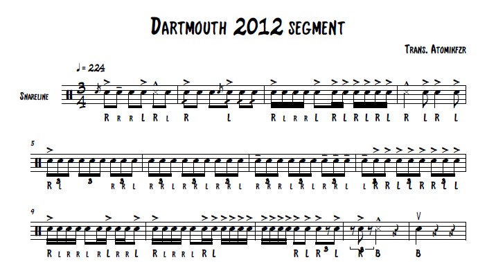percussion and drum stuff dartmouth hs 2012 snare sheet music. Black Bedroom Furniture Sets. Home Design Ideas