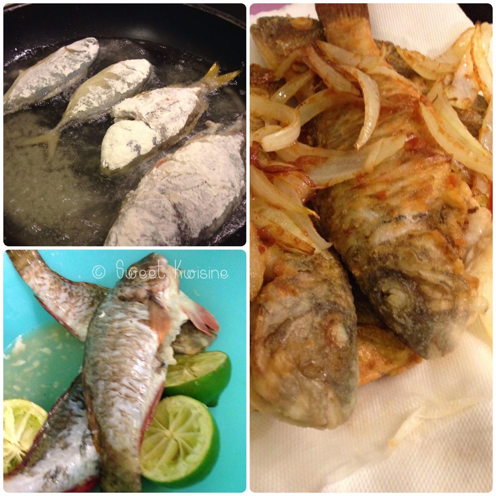 sweet kwisine, poisson, poisson frit, friture, martinique, cuisine antillaise, oignons marinés