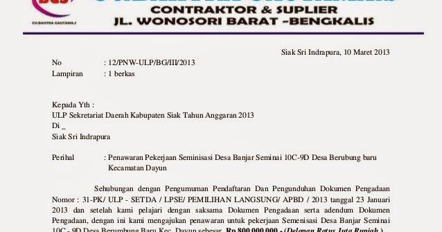 bentuk dokumen penawaran  surat penawaran