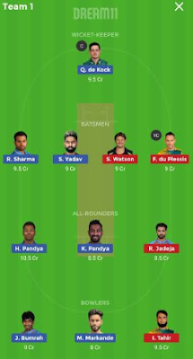 CSK vs MI dream 11 team