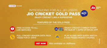 Jio Cricket Gold Pass - Get 2GB Data/Day for 51 Days at Rs.251 Only