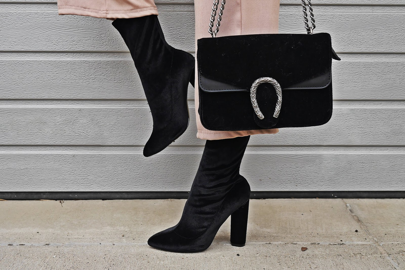 skarpetkowe botki czarne renee torebka karyn blog modowy