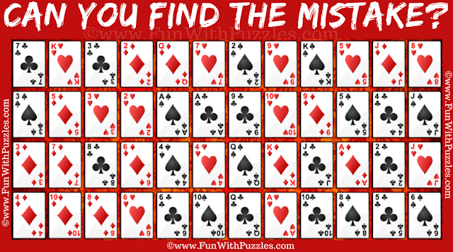 In this Mistake Finding Picture Puzzle, your challenge is to find the mistake in the arrangement of Accordion Solitaire Card game