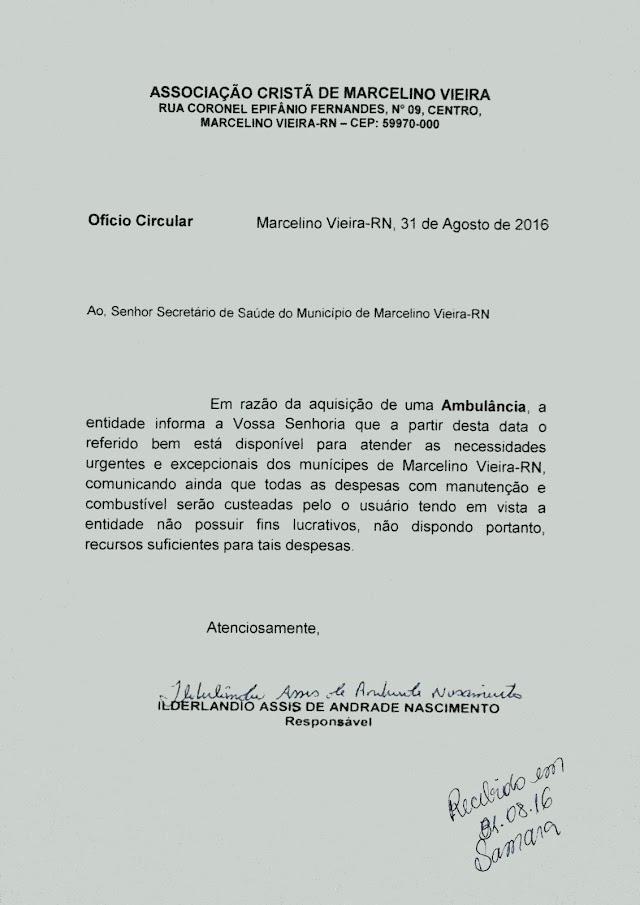 Associação cristã de Marcelino Vieira manda oficio para secretário de saúde do Municipio