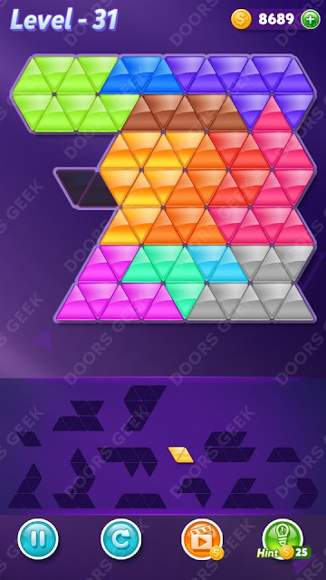 Block! Triangle Puzzle Champion Level 31 Solution, Cheats, Walkthrough for Android, iPhone, iPad and iPod