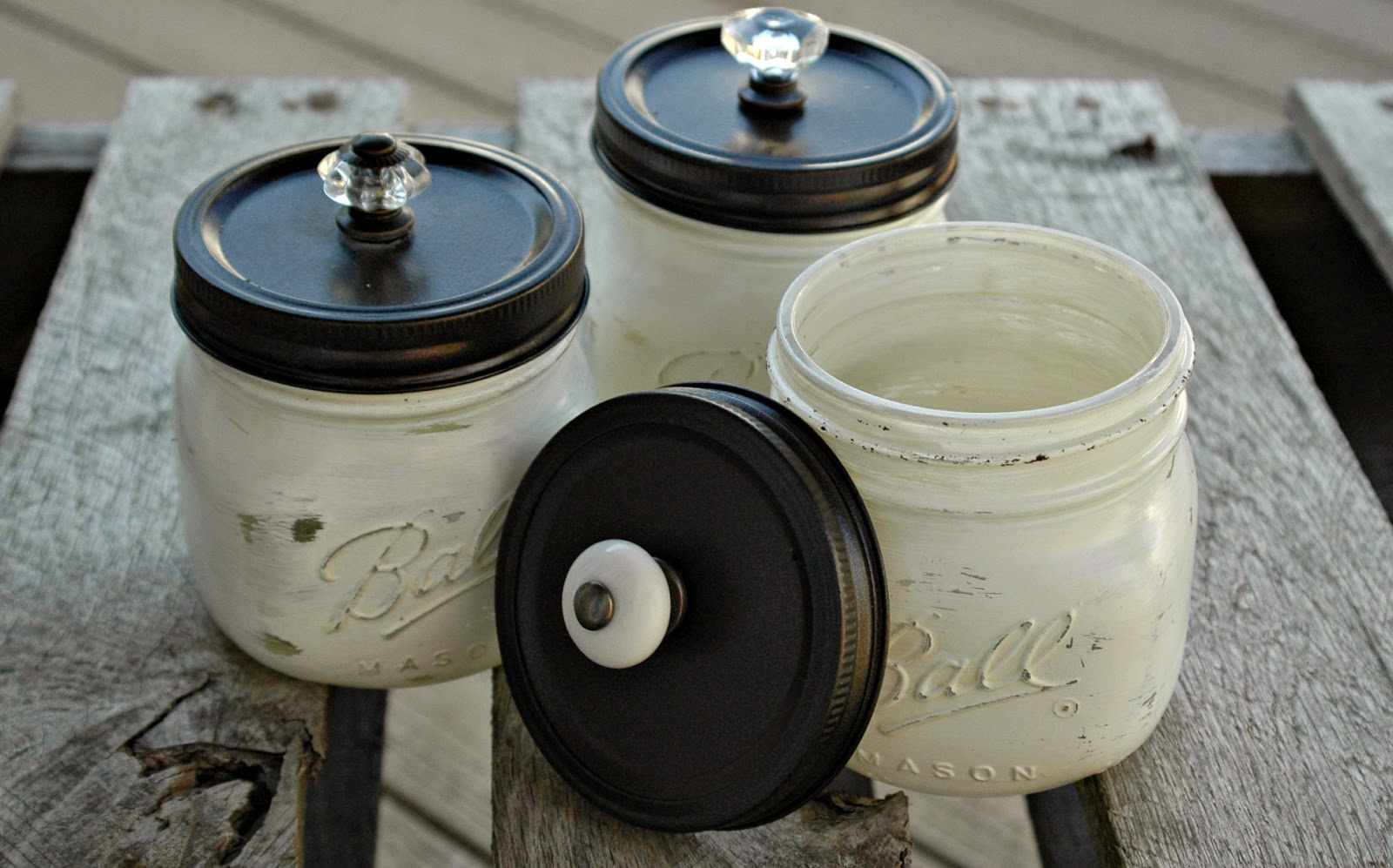 craft fair painted mason jars and weathered wood boxes little