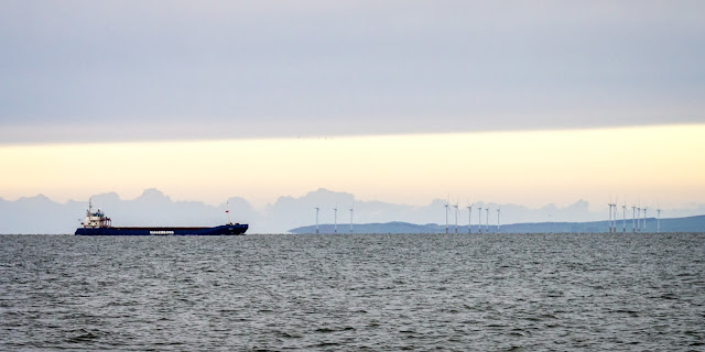 Photo of a cargo ship passing the Robin Rigg Wind Farm