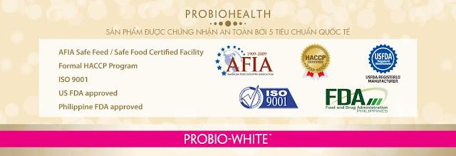 Chứng nhận của thuốc uống trắng da Probio White