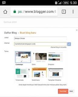 Buat Blog Baru di Blogger Lewat HP