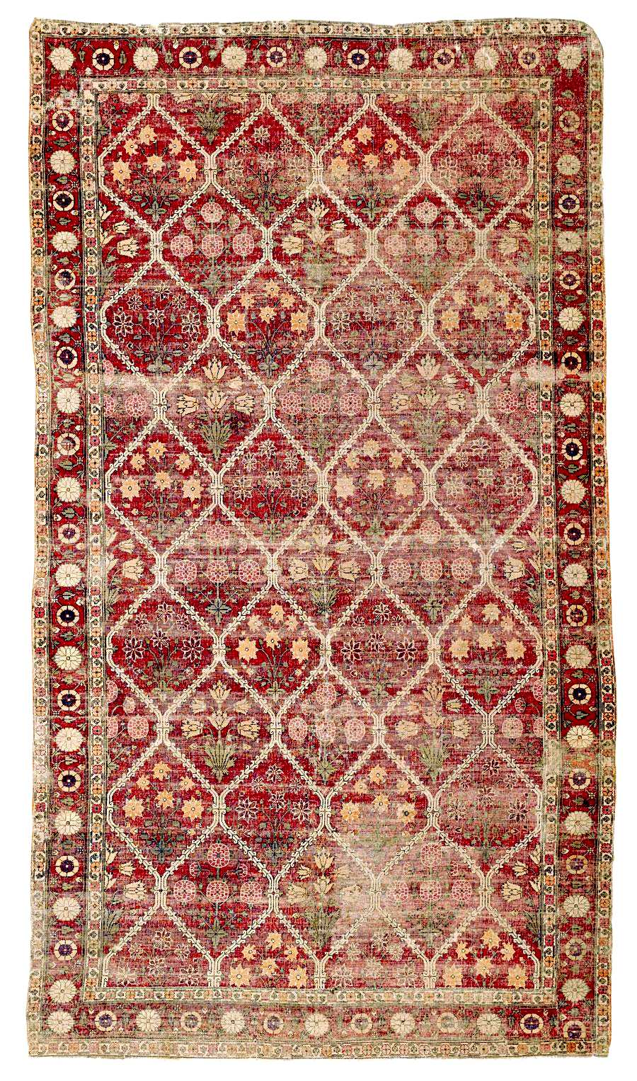 While Agra Rugs Mostly Have Scrolling Fl Designs A Diagonal Tiled Motif Is Also Iconic For The Area Below Are Two Examples Of Antique From