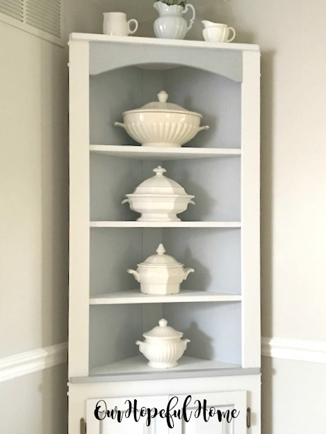 corner cabinet dishes ironstone