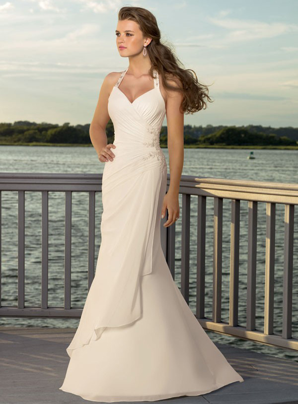 Designed Sheath/Column V-neck Halter Wedding Dress Ripon