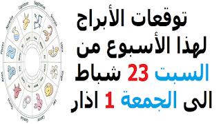 توقعات الأبراج لهذا الأسبوع من السبت 23 شباط الى الجمعة 1 اذار 2019