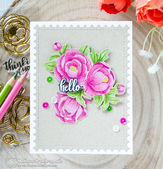 Floral Hello Card by Tatiana Trafimovich | Peony Blooms Stamp Set and Framework Die set by Newton's Nook Designs #newtonsnook #handmade