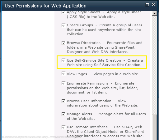 use self-service site creation in web application user permissions