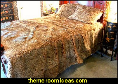 Fur Accents Faux Fur Queen Size Bedspread / Throw Blanket / Brown Wolf, Coyote Faux Fur