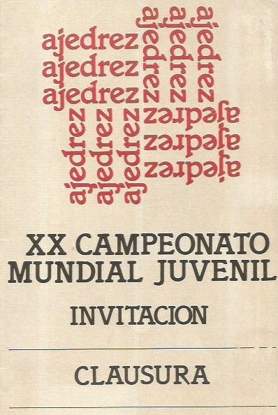Invitación a la clausura del XX Mundial Juvenil de Ajedrez de 1955