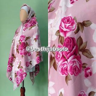 Khimar Instan Belah Tengah Pink Roses | Butik Rheenoa Syar'i Solo