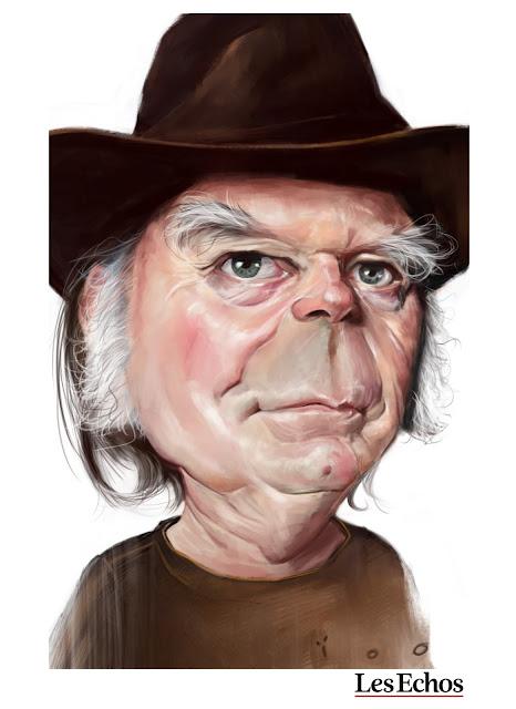 Caricature de Neil Young, ïoO pour Les Echos