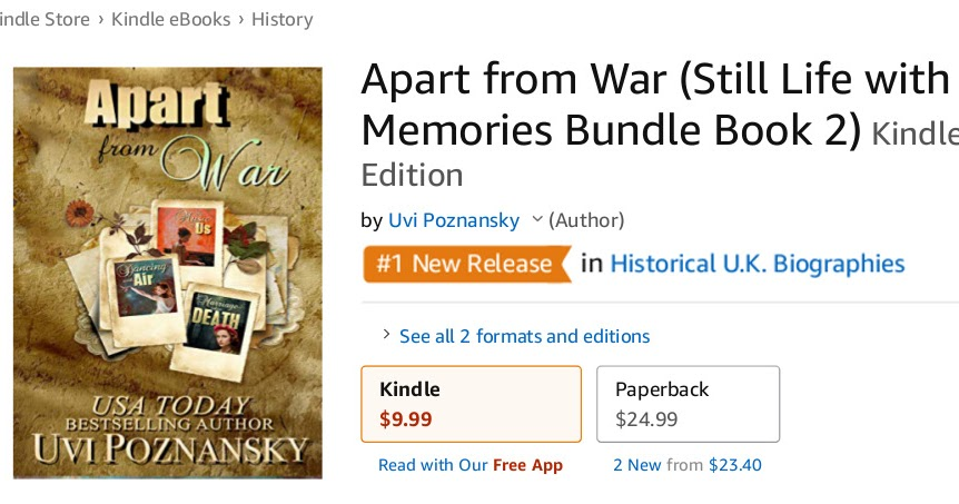 Uvi Poznansky: Apart from War is #1 new release in