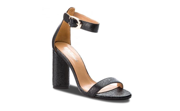Sandale de zi cu toc gros inalt negre piele naturala moderne R.POLAŃSKI