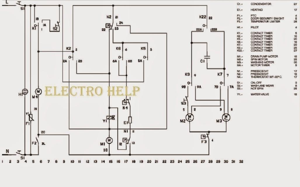 wiring diagram zanussi washing machine