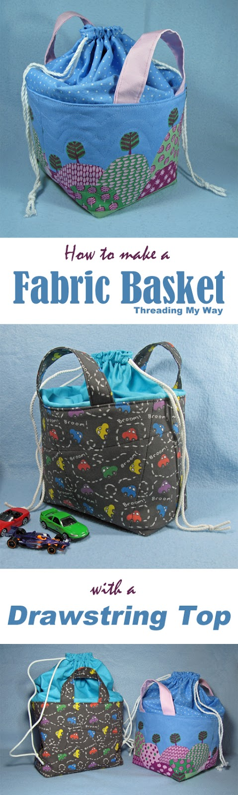 Learn how to make a fabric basket with a drawstring closure. Tutorial at Threading My Way