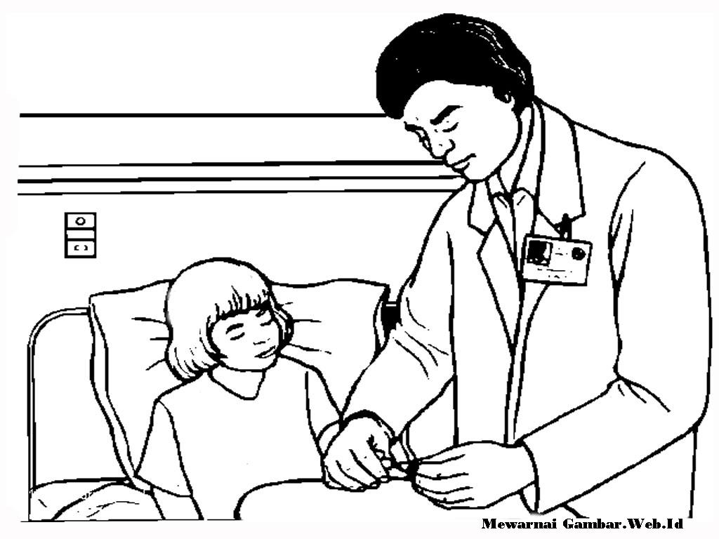 Mewarnai Gambar Rumah Sakit Untuk Anak Tk Pewarna L