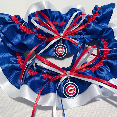 Chicago Cubs Wedding Garter Set by Sugarplum Garters