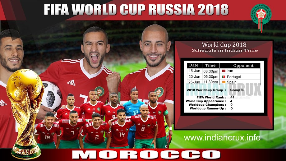 Downloadable Schedule of Team Morocco at FIFA 2018 World Cup