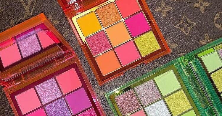 HUDA BEAUTY NEON PINK GREEN ORANGE OBSESSIONS PALETTES SWATCHES