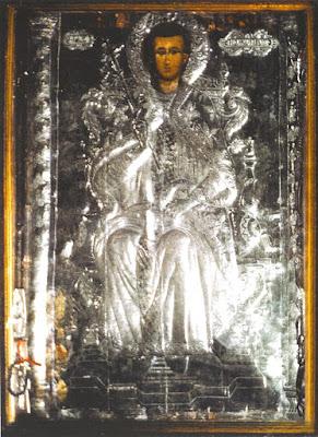 5. Φορητή εικόνα του Αγίου Προκοπίου από το ξυλόγλυπτο  τέμπλο του ομωνύμου Ιερού Ναού στο χωριό Ίππειος Λέσβου.