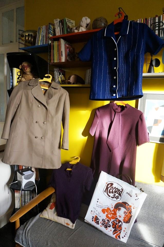 70s canvas coat purple necktie dress robe années 60 marie bonheur cardigan 1960 60s