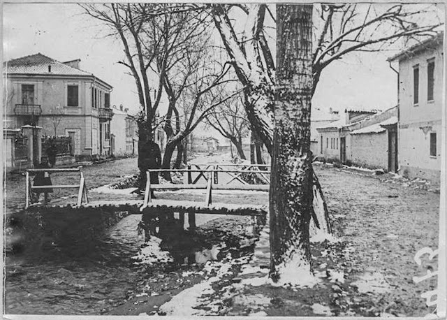 In the streets of Monastir (Bitola) (February 1917). View of the river under the snow