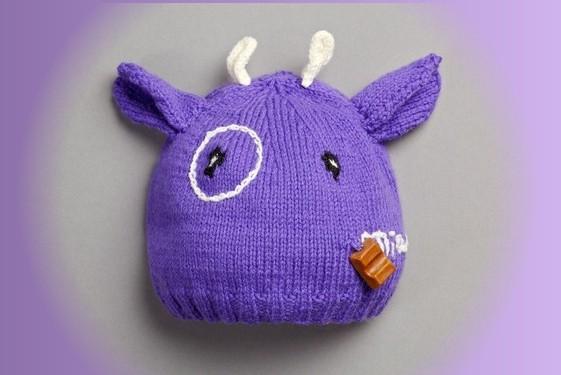 bonnet violet tête de vache pour enfant