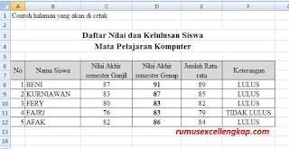 contoh data siap print