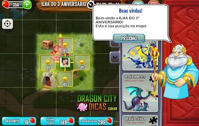 Ilha do 3° Aniversário do Dragon City - Dicas