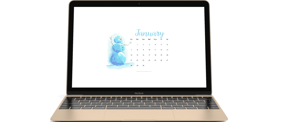 January 2018 free calendars for your desktop or phone wallpaper. Super cute watercolour snowman!