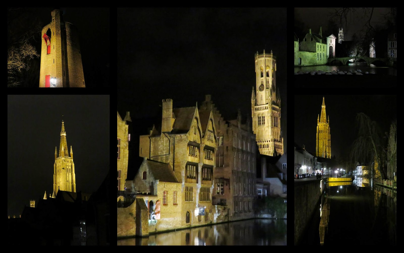 Bruges Belgium at Christmas - Towers Lit at Night