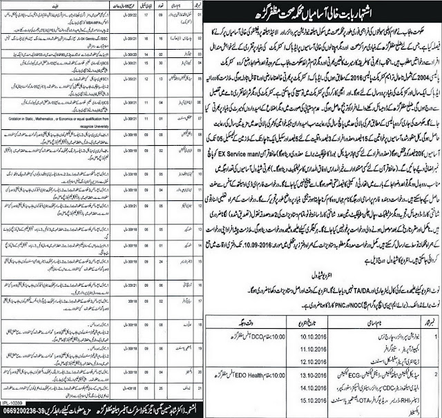 Health & Nutrition Supervisors Jobs in Muzafargarh 2016