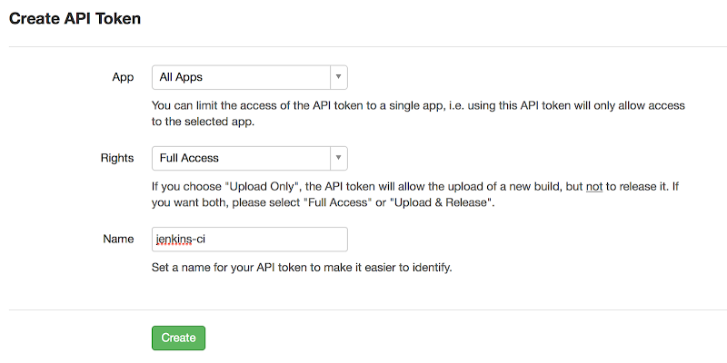 Create a new HockeyApp API Token