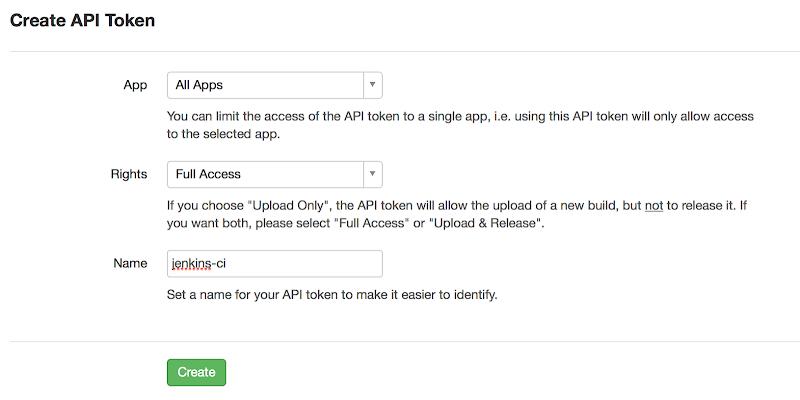Create a new HockeyApp API Token