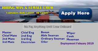 SEAMAN JOB requirement as of Filipino seaman crew join on bulk carrier, container, oil tanker ship deployment January-February 2019