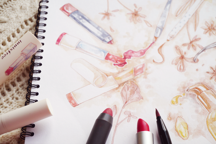 Innisfree Mamonde Lip Crayon Korean Makeup Beauty KBeauty KStyle Illustration Watercolor Evelyne Park evydraws