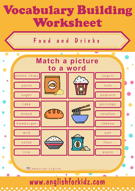 Food worksheet for ESL learners - elementary and pre intermediate level