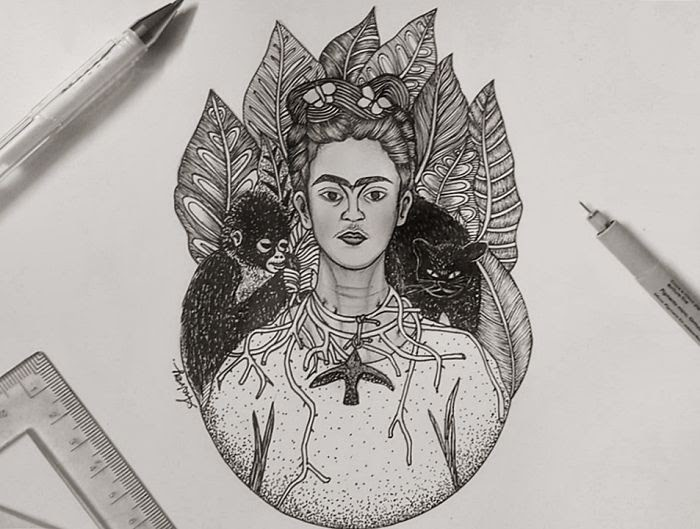 04-Self-Portrait-by-Frida-Kahlo-Poonam-Saha-Zentangle-Old-Masters-and-Works-of-Art-Drawings-www-designstack-co
