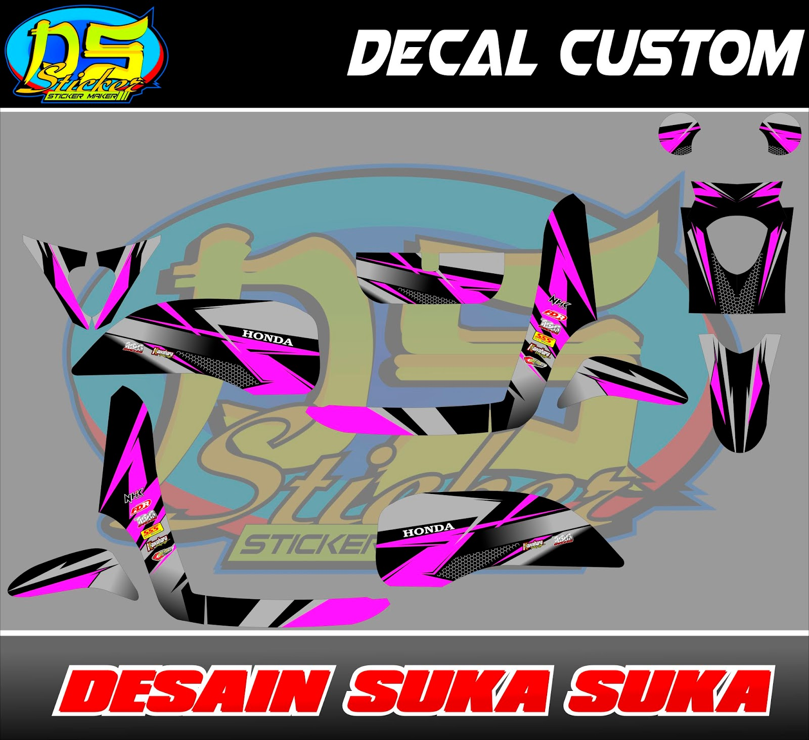 Decal scoopy fi motif pink