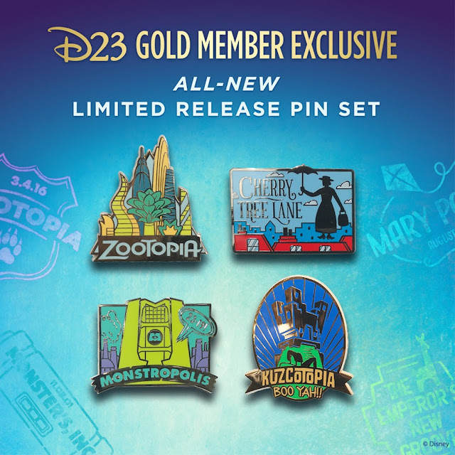 D23 Exclusive Pin Set - A Goofy Movie, Fantastic Worlds Mary Poppins, The Emperor's New Groove, Monsters Inc and Zootopia